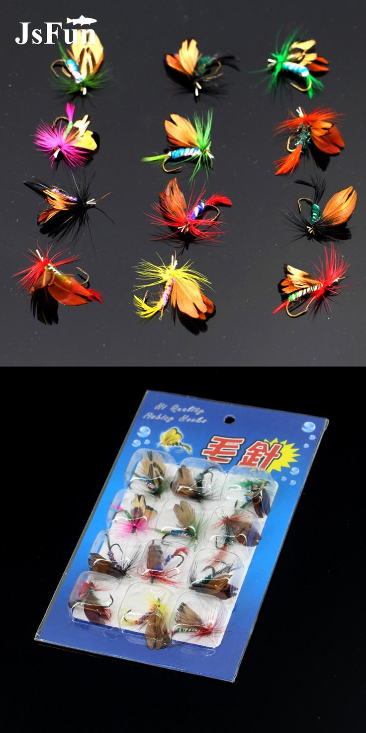 [Visit to Buy] 12pcs/set Various Dry Fly Fishing Trout Salmon Dry Flies Fish Hook Lures Fishing Fishing Pesca Peche Wobblers Leurre Souple L106 #Advertisement
