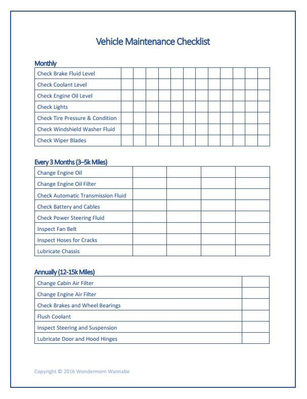 Free Printable Car Maintenance Checklist Car Maintenance Maintenance Checklist Car Checklist