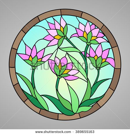 Vector illustration with flowers: lotus, water lily, magnolia in Stained glass window. - stock vector