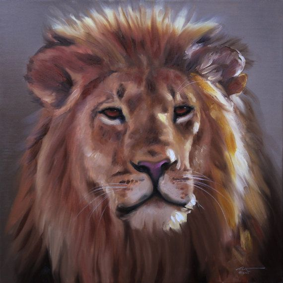 Africa Lion wildlife animal large 30x30 oils on canvas painting by RUSTY RUST / L-164 on Etsy, 538.10₪