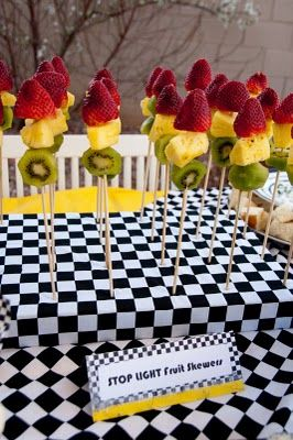 Stop Light Skewers:  Red, yellow, and green ... and good for you, too!