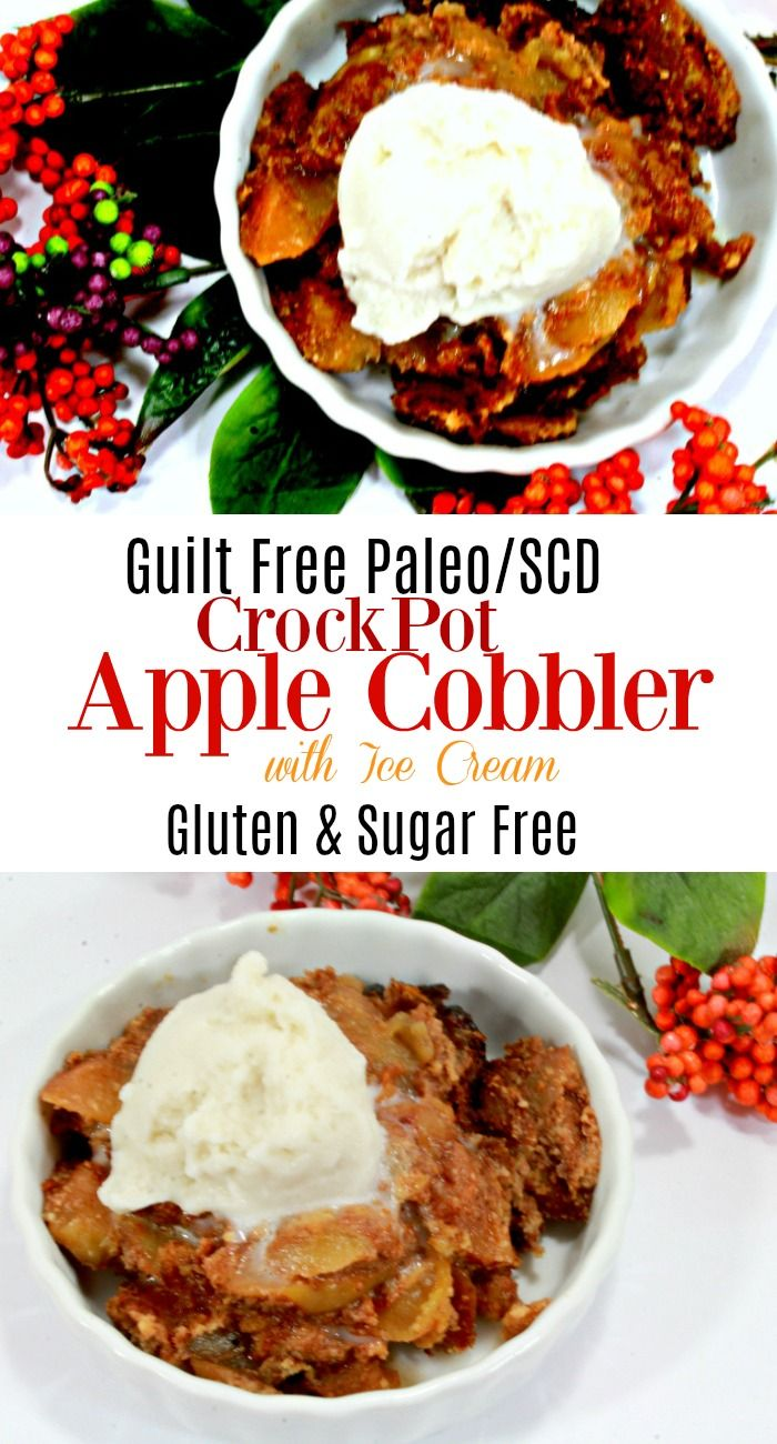 This scd crockpot apple cobbler is gluten free, sugar free, low carb, and is great for the specific carbohydrate diet, paleo diet, and a guilt free dessert.