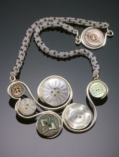 Antique shell buttons, sterling silver, <br /> glass beads (Contemporary Jewelry, Found Objects, Necklaces)