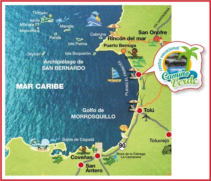 Nuestro mapa de ubicación, estamos  en la mejor Zona de Santiago de Tolú.