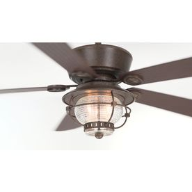 Shop Harbor Breeze Merrimack 52-in Antique Bronze Downrod Mount Indoor/Outdoor Ceiling Fan with Light Kit and Remote Control at Lowes.com