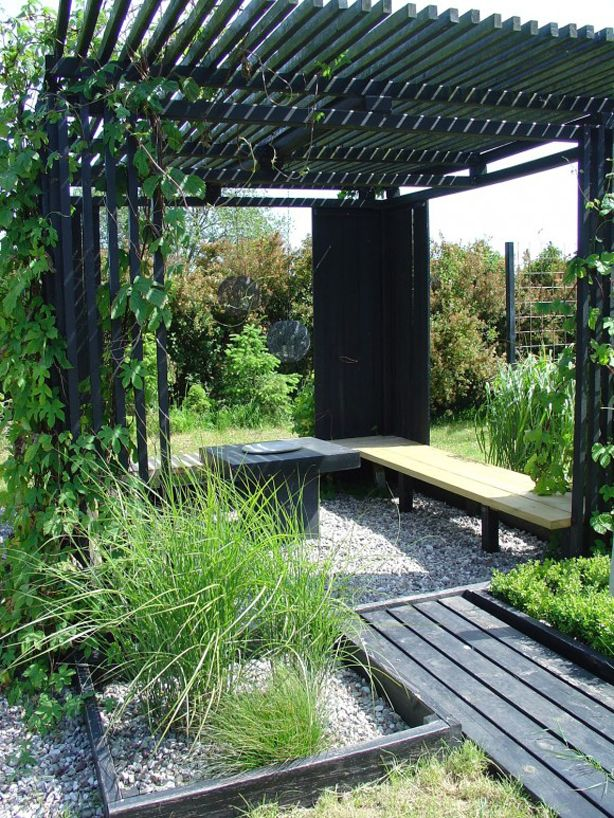 Pergola, outdoor design, landscape architecture, plantings, pathway, wood, outdoor seating, outdoor oasis, landscaping, hardscaping,