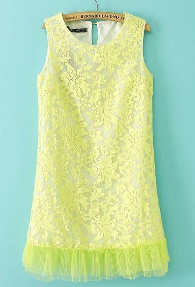Neon Green Sleeveless Embroidery Contrast Hem Organza Dress US$31.67