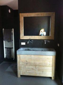 badkamerkast wastafel natuursteen steigerhout kast kastje