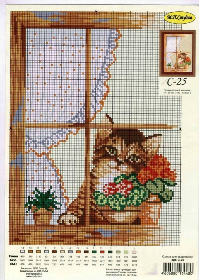 Kanaviçe pencere kedi