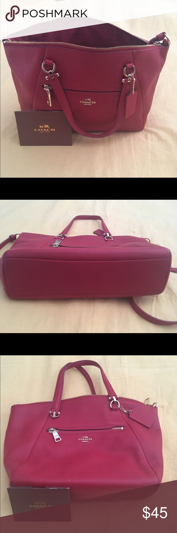 Red coach purse Red coach purse, carry bag with handles or shoulder bag... small zipper in front,  small pocket interior. Clean and in good condition.   Approximately 12 inches wide and 9 inches tall. NIce! Coach Bags Shoulder Bags
