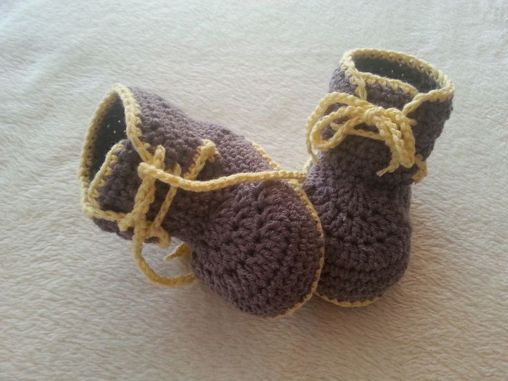 "Taupe & yellow.... Crocheted brown baby sneakers ""lovable"" for boys from Knit and crochet by DaWanda.com"