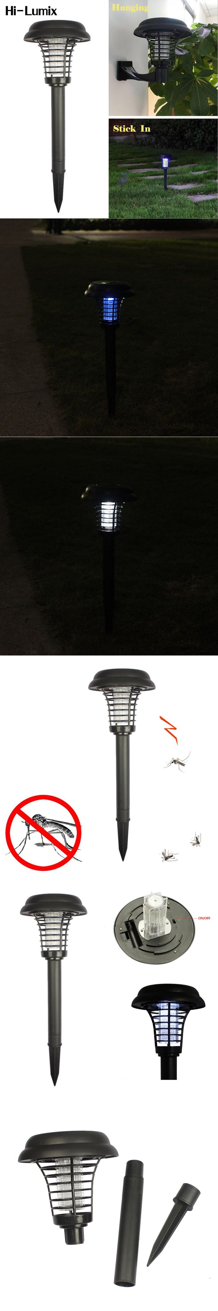 Hi-Lumix LED Solar Powered Lamp Garden Bug Zappers Lights Electronic Anti-Mosquito Lawn Light White UV Purple 3 mode