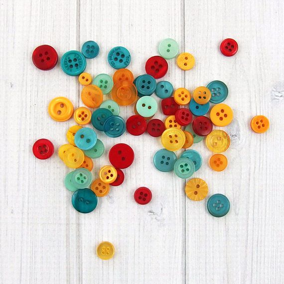 Assorted Buttons 60 pieces  Small Buttons  Mixed Buttons