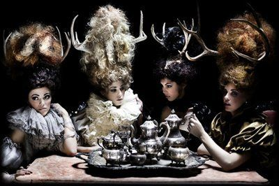 .Costumes, Teas Time, Teaparty, Antlers, Tea Parties, High Teas, Big Hair, Mary Antoinette, Teas Parties