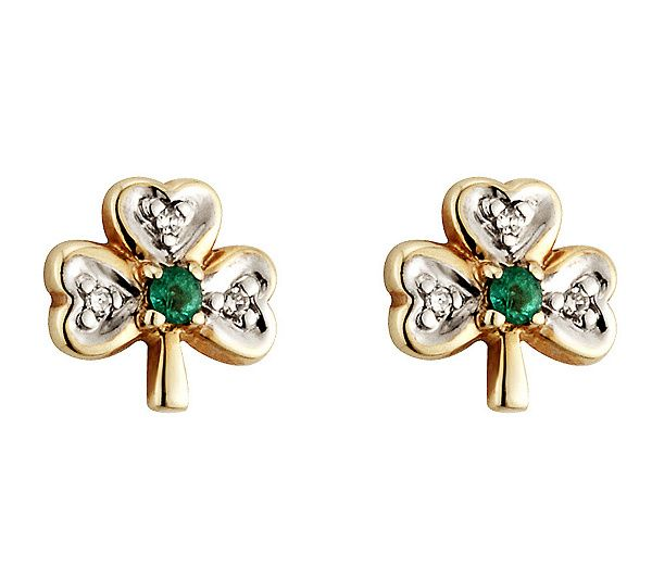 Irish accent. Crafted of 14K yellow gold, these shamrock studs bring a bit of the Emerald Isle to your look. QVC.com
