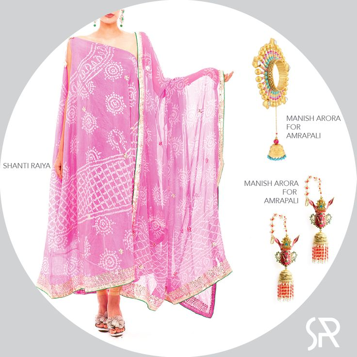 #SilkSeduction wink emoticon One side sleeves Pink Bhandani Silk Kaftan with the Queen of Hearts bangle + Funky gold plated earrings by Manish Arora. Visit us at : www.shanti-raiya.com