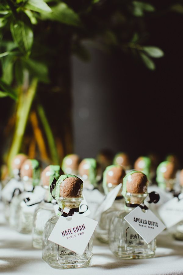 tequila escort cards - photo by Amber Gress http://ruffledblog.com/modern-brooklyn-wedding-at-the-wythe-hotel
