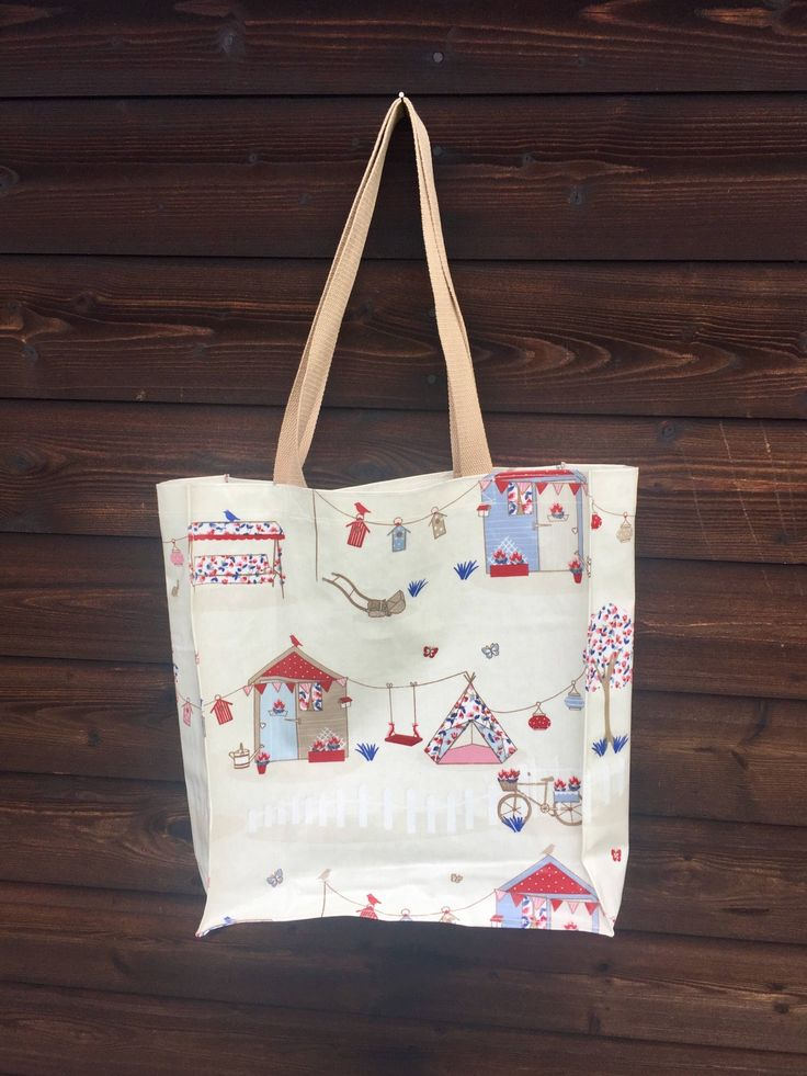 Excited to share the latest addition to my #etsy shop: holiday theme bag, oilcloth  bag, waterproof tote, camp theme bag, summer holiday bag, oilcloth shopping bag #bagsandpurses #oilclothbag #laminatecotton #summerholiday #tentsandhuts #campingholiday #shoppingbag #largetote #waterresistant