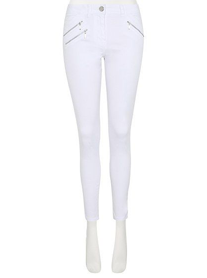 Zip Detail Trousers - White, read reviews and buy online at George at ASDA. Shop from our latest range in Women. Make a chic addition to your wardrobe with t...