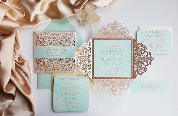 Blush Wedding Invitation Laser cut with double layer - Laser cut blush wedding invite with custom bellyband {Begonia design - Sku: BegBar01}