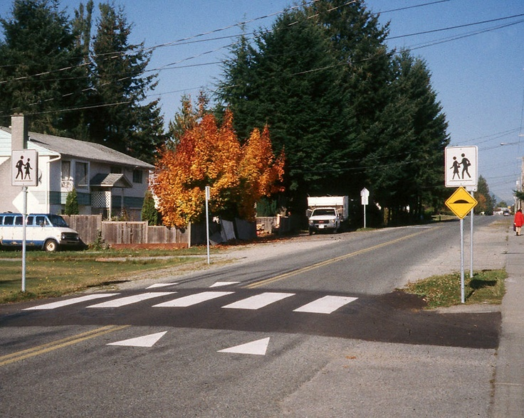 why not use a raised crosswalk to accomplish pedestrian safety and speed control at the same time?   read more about it here:  http://www.sinoconcept.com/2012/08/raised-rubber-crosswalks-traffic-calming-safety/#