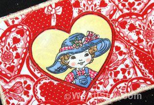 Fabric Valentine's Day Postcards - Donna Krebill #sew #diy #holiday #valentine #weallsew