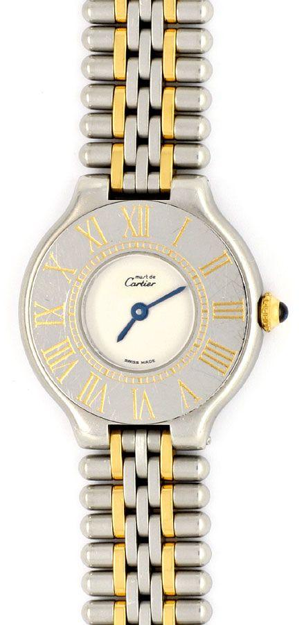 Foto 2, Cartier 21 Must.de Cartier Stahl-Gold Damen-Armband-Uhr, U1519