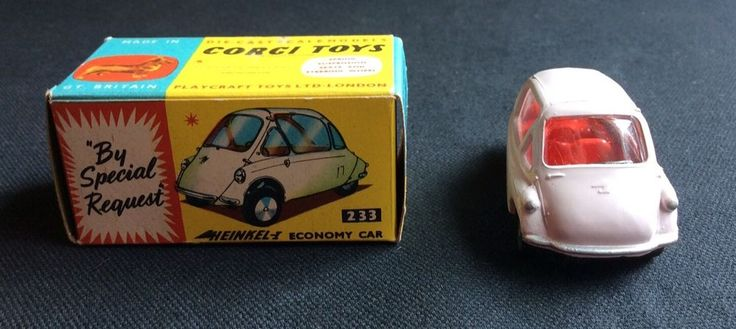 For your consideration is a New in the original box Corgi Toys Heinkel-1 economy car model # 233 die cast made in Great Britain. The color is light pink as shown in the pictures. The box has a little wear and it has something red on one side of the box. Please look at the pictures! This is the item you will receive. Please e-mail me if you have any questions. I will refund the purchase price if you are not satisfied. I will be glad to combine shipping on multiple items. Thank you for looking…