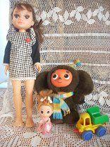#Кукла куколка чебурашка машинка 4 шт. в лоте - 300 р. #  У большой пяточки подмяты немного. Высота большой куклы - 40 см маленькой -12 смДругое