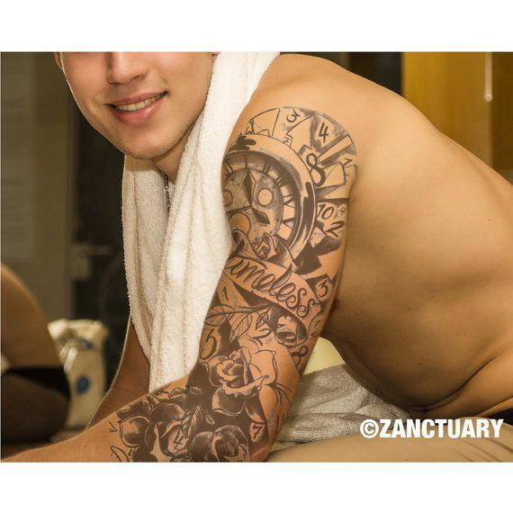 1 Set Men Temporary Tattoo Sleeve For Forearm Tree Tattoo Forest