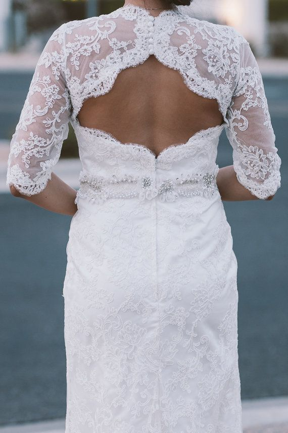 Lace Wedding Dress with Sleeves and Keyhole by bridalblissdesigns, $849.00