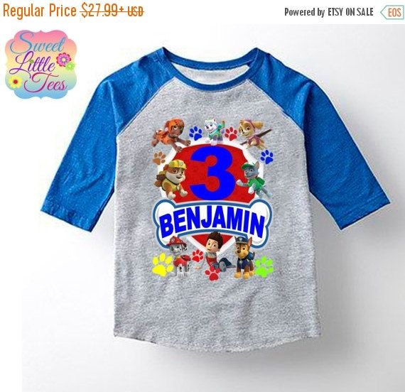 Paw Patrol inspired shirt/Paw Patrol t-shirt/Birthday boy or girl paw patrol shirt/paw patrol/Birthday gift for boys or girls/Paw Patrol/75  AT CHECK OUT PUT THE CHILDS NAME AND AGE YOU WOULD LIKE ON THE SHIRT IN NOTES TO SELLER.  Additional Coupons Codes  discount05 for an additional 5% for for a total of 20% for any purchase. discount10 for an additional 10% off for a total of 25% off for purchases of $40 or more excluding shipping. discount15 for an additional 15% off for a total of 30%…