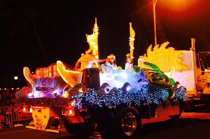 Hawaiian Electric's festive float from the 2015 Honolulu City Lights Electric Light Parade.