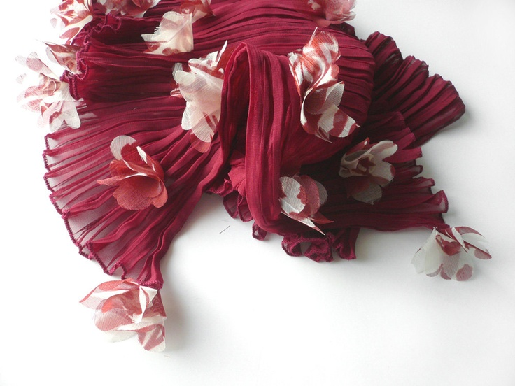 Long sheer chiffon scarf, shawl with flowers off white, summer fashion trend, dark red bordeaux, crinkled light material.  This beautiful scarf is sold :-)