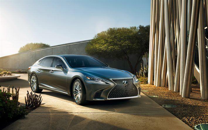 Lexus LS 500, 2018, silver Lexus, sedan, new LS, Lexus