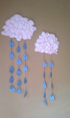A DIY, Rainy Clouds, project for kids from Stacy Vaughn ... I think kids would love to make this! http://stacyvaughnblog.blogspot.com/search/label/crafting%20with%20the%20kids