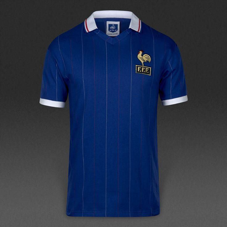 Score Draw Retro France Home 1982 Football Shirt - Blue