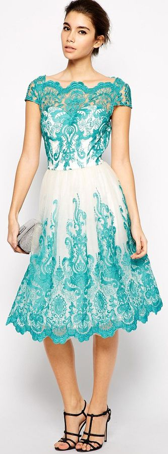 Chi Chi London Premium Embroidered Lace Prom Dress with Bardot Neck $122.89