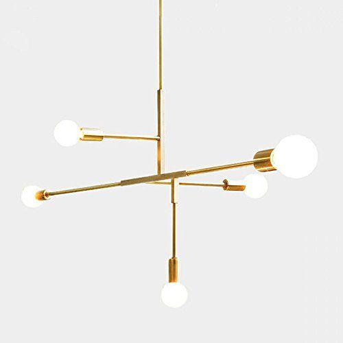 Moderne 5 Leuchten Kronleuchter Pendelleuchte Industrie Gold Metall Decke Befestigungen Galvanik Amazonde