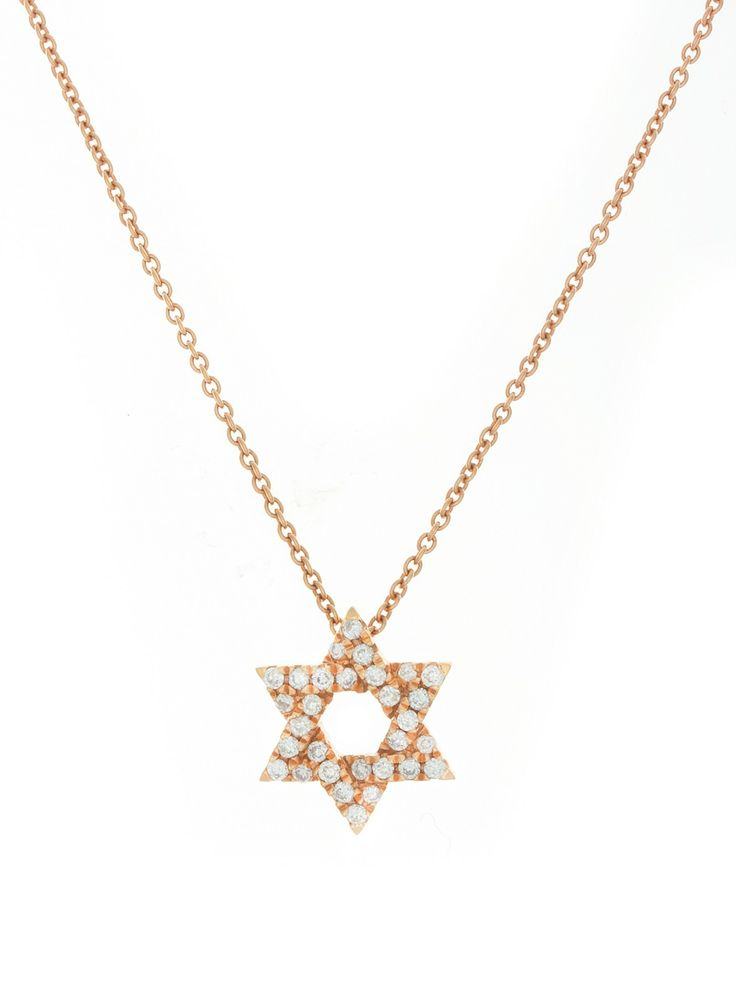 London Collection Rose Gold Star of David Pendant Necklace