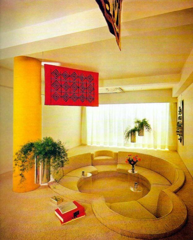 Conversation pit: Living Rooms, Idea, 1970 S, 70S, Sunken Living Room, Conversation Pit, House, Vintage Interiors