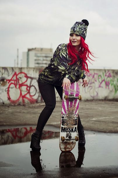 Skate girl! Sweatshirt and Beanie by Brain Wash Clothing