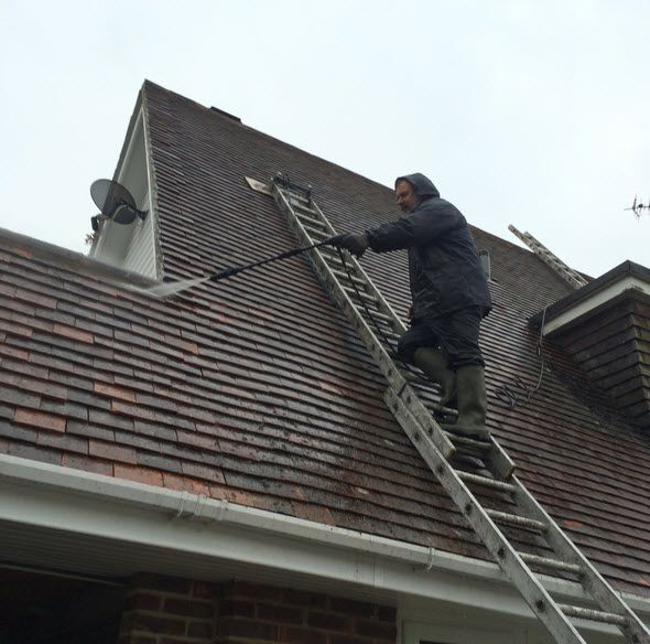 Roofcleaning Should Not Be Done Without A Professional Of Experienced Cleaner Due To The Risk Of Falling From Heights And Pos Roof Restoration Roof Paint Roof