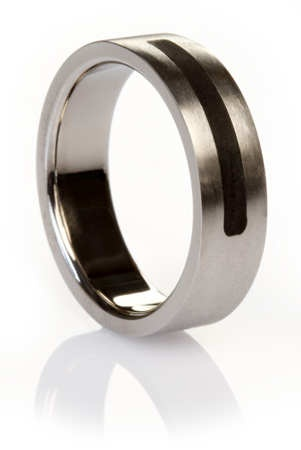 Best Mens Titanium Brushed Ring with Black Inlay Detail Titanium Wedding Ring
