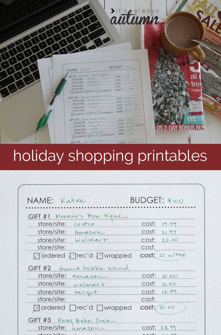 holiday gifts presents christmas shopping planner printable