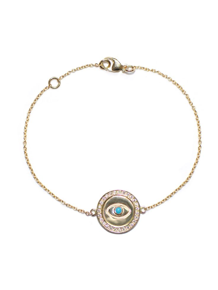 Anzie - Royale Evil Eye Charm Bracelet - Turquoise and Gold