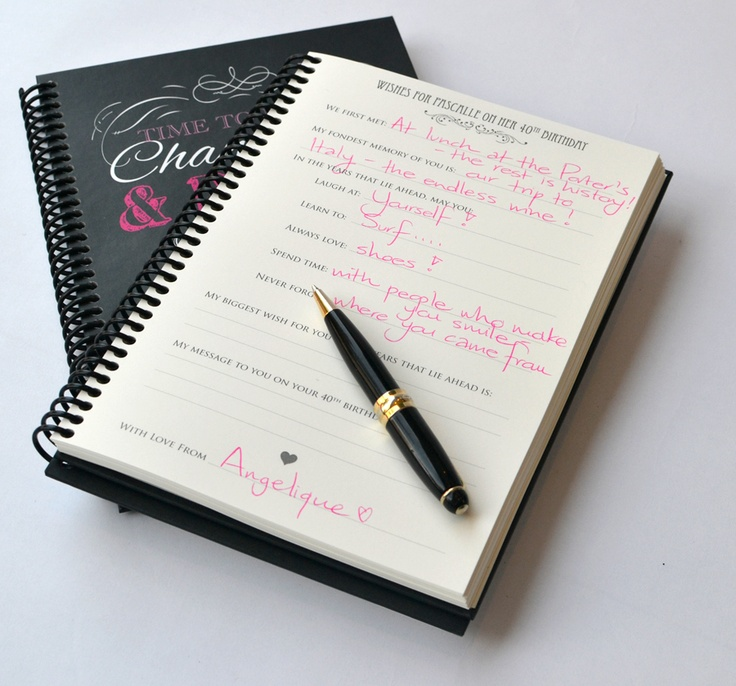 'Time to drink champagne' Wish Book - Guests can write special messages... a wonderful way to remember your special occasion - www.macaroon.co