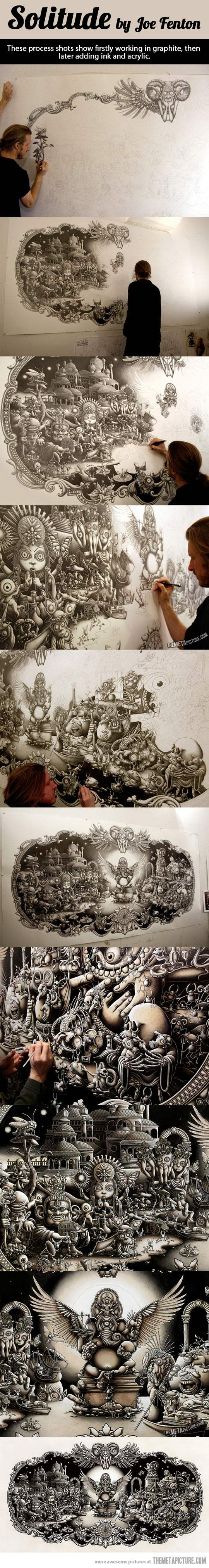Process shots of awesome mural…....Looks like what would happen if you gave my Sister free reign on a blank wall.