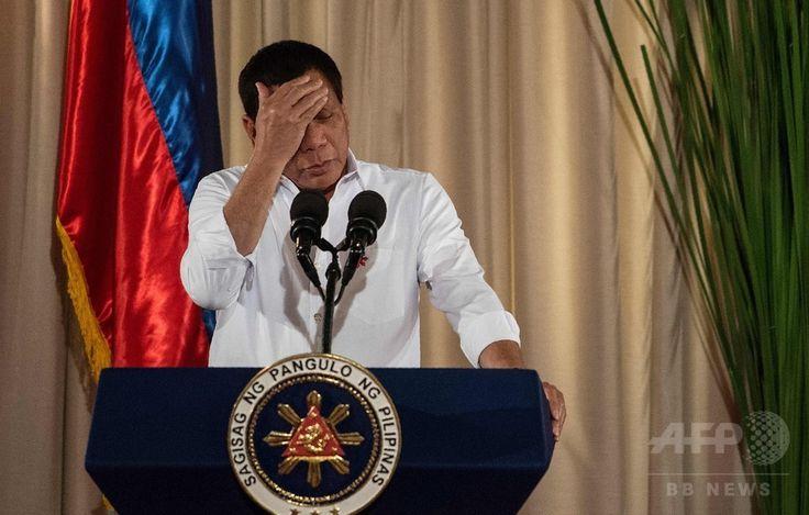 フィリピンの首都マニラ Manila にあるマラカニアン宮殿 Palasyo ng Malakanyang (大統領府)で演説するロドリゴ・ドゥテルテ大統領 Rodrigo Duterte (2017年6月1日撮影)。(c)AFP/NOEL CELIS▼15Jun2017AFP|疲労のドゥテルテ比大統領、「元気回復」のため公務取り止め http://www.afpbb.com/articles/-/3132193