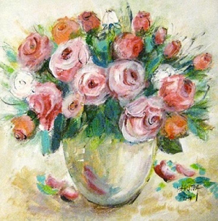 Ruže vo váze, akryl